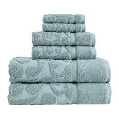 Duchene Sculpted 6-Piece Turkish Towel Set, Seagrass