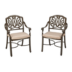 Home Styles Floral Blossom Patio Chair in Taupe and Natural (Set of 2)