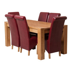 Kuba Chunky Oak Dining Table With 6 Montana Chairs, 180 cm, Red Leather