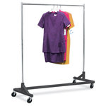 """OnlyHangers - Heavy-Duty Nesting """"Z"""" Rack, Black Base - The apparel industry relies on space-saving clothes racks for many reasons, but mainly because the shape of the """"Z"""" rack folds right into another unit and out of the way. More floor space is a great reason to choose it, but so is this rack's long-lasting durability. Able to hold 450 lbs., with a five foot base and uprights that extend up to six feet, it's a multi-purpose rack that can provide needed storage in a laundry room, church choir room, school band room, garage, or anywhere you need more hanging space."""