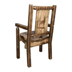 Homestead Captain's Chair With Laser Engraved Elk Design Clear Lacquer Finish