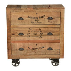 Industrial Style Solid Wood Factory Cart 3 Drawer Dresser