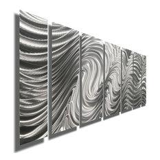 Silver Abstract Metal Wall Art Sculpture by Jon Allen, Hypnotic Sands, 7 Panel: