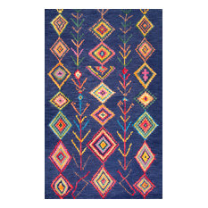 "Hand-Tufted Bohemian Moroccan Diamond Rug, Navy, 8'6""x11'6"""
