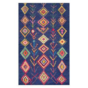 "Hand-Tufted Bohemian Moroccan Diamond Rug, Navy, 7'6""x9'6"""