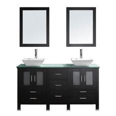 "Bradford 60"" Double Vanity Set, Aqua Square, Polished Chrome, With Mirrors"