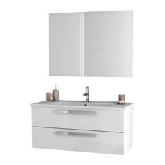 "38"" Glossy White Bathroom Vanity Set"
