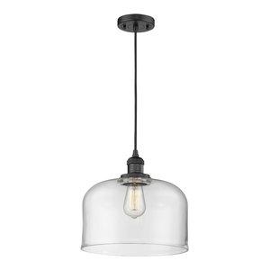 Large Bell 1-Light LED Pendant, Matte Black, Glass: Clear