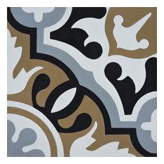 "8""x8"" Baha Handmade Cement Tile, Brown/Black/Gray, Set of 12"