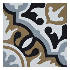 "8""x8"" Baha Handmade Cement Tile, Brown/Black/Gray, Set of 12"