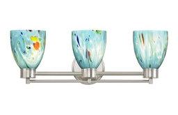 Modern Bathroom Light with Blue Glass in Satin Nickel Finish