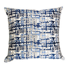 """Plutus Tierra Monte Plaid Navy Blue and Gray Pillow, 26""""x26"""""""