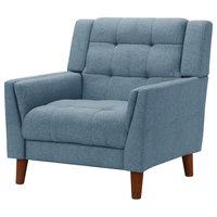 GDF Studio Evelyn Mid Century Modern Fabric Arm Chair, Blue/Walnut