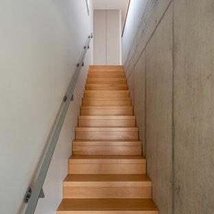 Cette image montre un grand escalier droit minimaliste avec des marches en bois, des contremarches en bois et un garde-corps en matériaux mixtes.