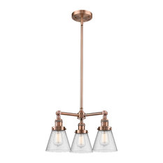 "3-Light Small Cone 19"" Chandelier, Antique Copper, Glass: Seedy"
