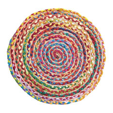 Rainbow Braided Round Rug, Small With jute