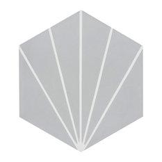 """8""""x9"""" Menara Handmade Cement Tiles, Set of 12, Gray/White"""