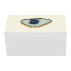 Giant Agate Lacquer Box, White and Blue