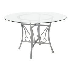 Flash Furniture Princeton 48-inch Round Glass Top Dining Table In Silver