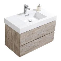 "Bliss 36"" Nature Wood Wall Mount Modern Bathroom Vanity"