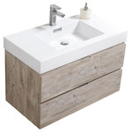 """Kubebath - Bliss 36"""" Nature Wood Wall Mount Modern Bathroom Vanity - The Bliss is one of the most elegant modern Bathroom Vanities around. This 36 Inch model comes with a reinforced Acrylic sink, Marine Veneer Constructed Console that is fully Moisture and Water proof, with high quality European Hardware, that provides smooth soft-closing operation on two fully funtional drawers. Marine Veneer Wood Construction Console. Integrated European Soft-Closing Hardware. Reinforced Acrylic Composite Sink with Overflow. Single Hole Faucet Mount. Installation Hardware Included. Open back for easy plumbing access . Two fully functional drawers"""