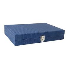 Leather Backgammon Board Game, Blue