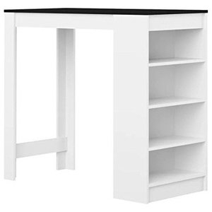 Contemporary Dining Table, White Finished Solid Oak Wood With 4 Open Shelves