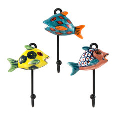 Traders and Company - Hand-Painted Ceramic Tropical Fish Wall Hooks, Asstd  Set of