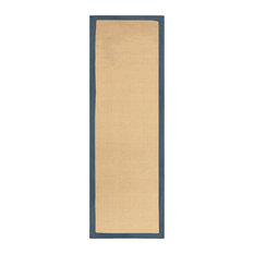 """Classic Collection Hand Woven Jute Rug 2'6"""" X 12' - Navy Blue"""