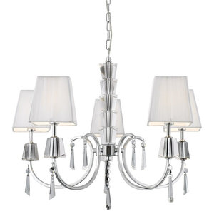 Portico 5-Arm Chrome and Glass Light With White String Shade