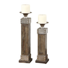 Uttermost - Lican Candle or Candle Holder in Light Chestnut Stain - Candleholders