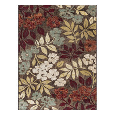 Kalea Transitional Floral Brown Rectangle Area Rug, 8' x 10'