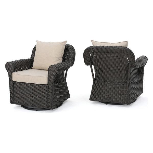 GDF Studio Admiral Outdoor Wicker Swivel Rocking Chair, Cushions, Set
