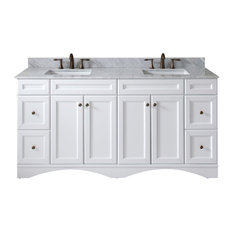 72-inch Double Bath Vanity White Marble Top Sink Polished Chrome Faucet