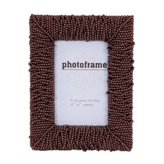 Small Brown Beaded Picture Frame, 16x21 cm