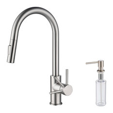 Brass Single Handle Pull Out Kitchen Faucet, Brush Nickel W/ Soap Dispenser