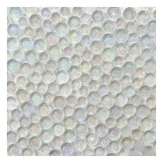 "districtII - 12""x12"" Aqua Blue Iridescent Random Circles Glass Mosaic Tile, Ice White - Wall and Floor Tile"