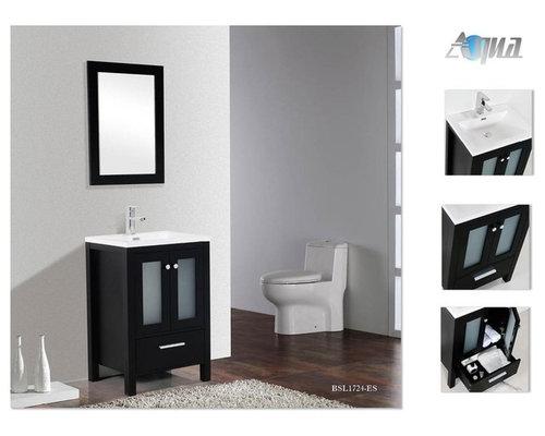 Brezza 24 Modern Bathroom Vanity W Frosted Glass Doors