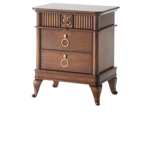 Wooden Bedside Table With 3 Drawers, Merlot Red
