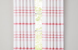 Wide-Ruled Curtain Panels, Pink