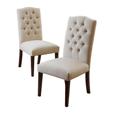 GDFStudio   Clark Dining Chairs, Set Of 2, Natural Linen   Dining Chairs