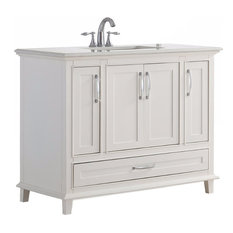 Ariana Bath Vanity With Bombay White Quartz Marble Top, 42""