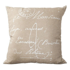 """Facile French Pillow, Ivory and Beige, Down Feather Filler, 22"""""""