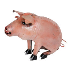 Recycled Metal Sitting Pig, Pink