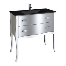 Aranjuez Silver Modern Bathroom Vanity With Integrated Sink, 32""