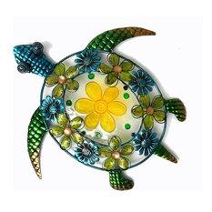 Continental Art Center - Acrylic Beaded Flower Sea Turtle Wall Decor - Outdoor  Wall Art