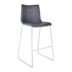 """Hamilton 26"""" Counterstool, Brushed Stainless Steel With Gray Faux Leather, Brush"""