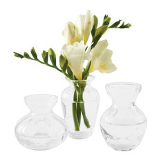 Fluted Glass Mini Vases, Boxed Set of 3