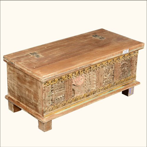 rustic reclaimed wood new delhi hand carved storage trunk chest decorative trunks