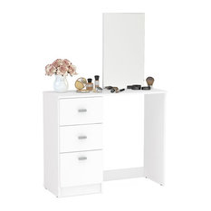 Boahaus - Boahaus  Dressing Table with Mirror, 3 Drawers, White - Bedroom & Makeup Vanities